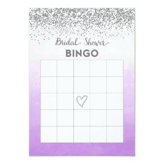 Tarjeta nupcial púrpura y de plata del bingo de la invitación 12,7 x 17,8 cm