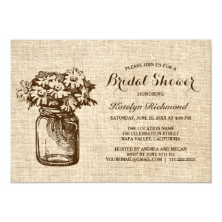 Tarjeta nupcial rústica de la ducha del tarro de invitación 12,7 x 17,8 cm