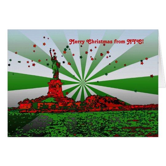 Tarjeta NYC psicodélico: Estatua del navidad N-F de la