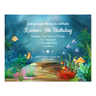 Tarjeta Océano ReefUnder la fiesta de cumpleaños del mar