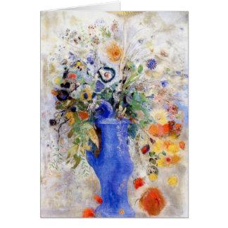 Tarjeta Odilon Redon - ramo grande en florero azul en