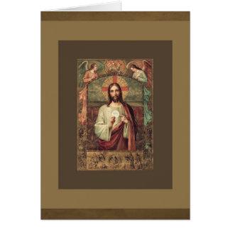 Tarjeta Ofrecimiento total católico de la eucaristía de