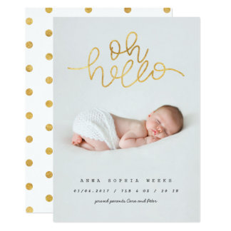 Tarjeta Oh efecto de la hoja de oro del bebé