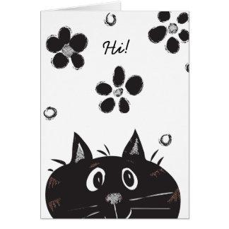Tarjeta ¡Ojeada linda un gato del abucheo que dice hola!