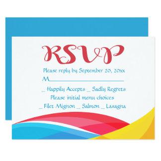 Tarjeta Onda azul abstracta del arco iris de RSVP roja y