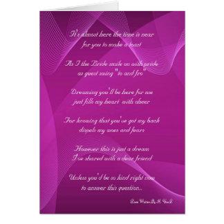 Tarjeta Onda púrpura usted será mi dama de honor