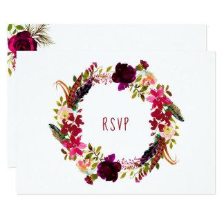 Tarjeta Opción floral de la entrada de RSVP de la