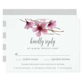 Tarjeta Opción RSVP de la comida de las flores de cerezo