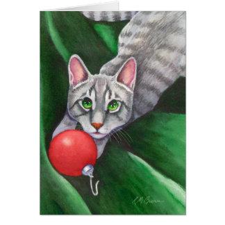 Tarjeta Ornamento gris del navidad del gato