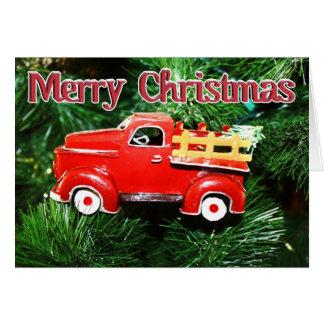 Tarjeta Ornamento rojo 4 del navidad del camión