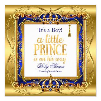 Tarjeta Oro adornado azul de la fiesta de bienvenida al