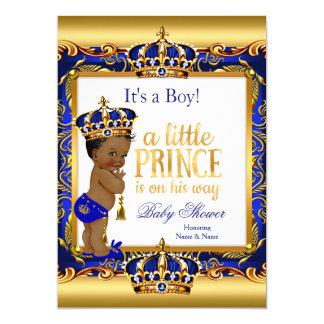 Tarjeta Oro adornado azul del príncipe fiesta de