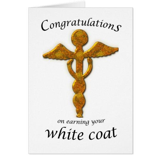 Tarjeta Oro blanco de la ceremonia de la capa médico