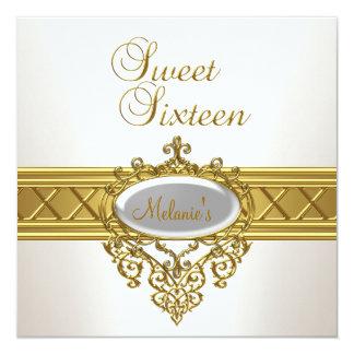 Tarjeta Oro blanco elegante de la fiesta de cumpleaños del