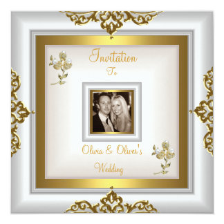 Tarjeta Oro blanco floral adornado 3 del boda elegante