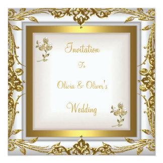 Tarjeta Oro blanco floral adornado del boda elegante