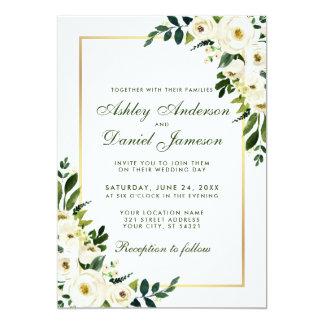 Tarjeta Oro blanco verde floral de la acuarela que casa el