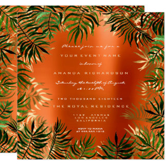Tarjeta Oro coralino anaranjado del marco de hoja de palma