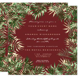 Tarjeta Oro de hoja de palma verde tropical de la sepia de