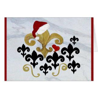 Tarjeta Oro de la flor de lis de Santa del navidad y
