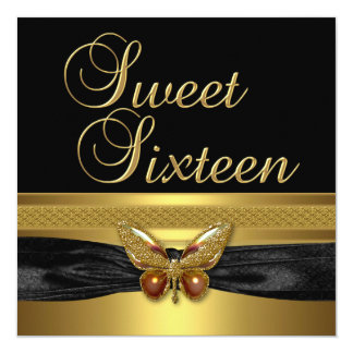 Tarjeta Oro de la mariposa de la fiesta de cumpleaños 16