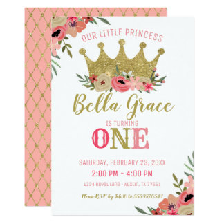 Tarjeta Oro de princesa Crown Birthday Invitation Pink