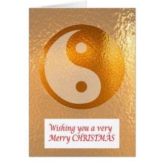 Tarjeta ORO DE YIN YANG:   Felices Navidad NewYear feliz