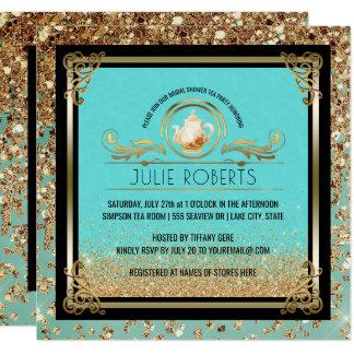 Tarjeta Oro nupcial del azul de Tiffany de la fiesta del