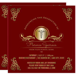 Tarjeta Oro rojo de la fiesta de graduación el | de la