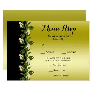 Tarjeta Oro romántico floral elegante y menú negro RSVP