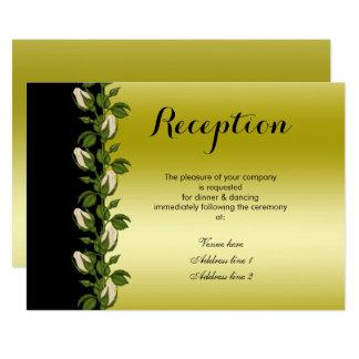 Tarjeta Oro romántico floral elegante y recepción negra