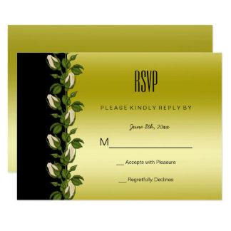 Tarjeta Oro romántico floral elegante y RSVP negro