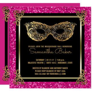 Tarjeta Oro rosado del dulce dieciséis de la bola de