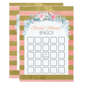 Tarjeta Oro y bingo nupcial floral de la ducha de las