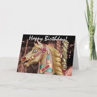 Gold and Pink Vintage Carousel Galloper Horse