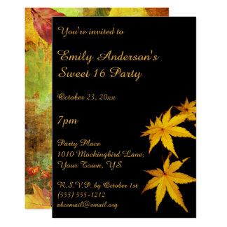 Tarjeta Oro y cumpleaños negro del dulce 16 del otoño