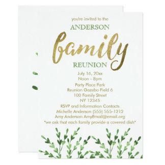 Tarjeta Oro y reunión de familia verde de la hoja