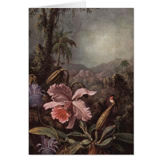 Tarjeta Orquídeas, flores de la pasión y colibríes de