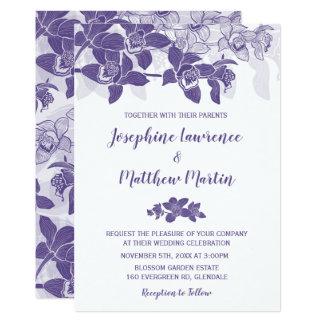 Tarjeta Orquídeas ultravioletas elegantes que casan la