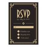 Tarjeta oscura de RSVP del marco retro del art Invitación 8,9 X 12,7 Cm