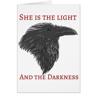 Tarjeta oscura del cuervo de la diosa