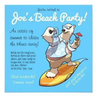 Tarjeta Oso polar que practica surf fresco con el dibujo