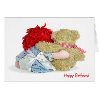 Tarjeta Oso y muñeca del cumpleaños