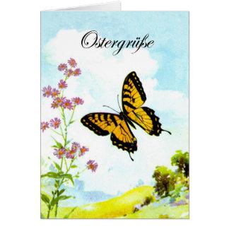 Tarjeta Ostern Schmetterling Blumen