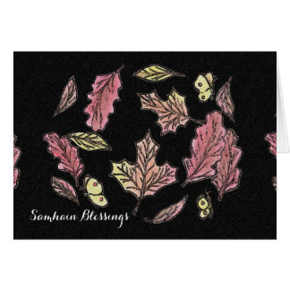 Tarjeta Pagan de Wiccan de la bruja de las hojas de