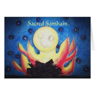 Tarjeta Pagan de Wiccan de la bruja del poema de Samhain