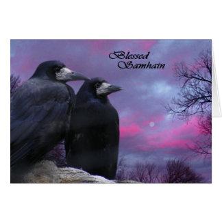 Tarjeta pagana de Samhain de los cuervos