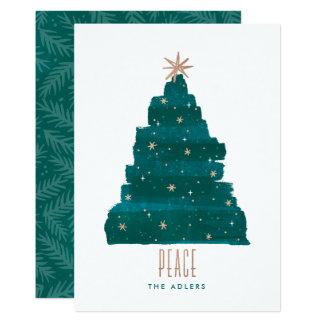 Tarjeta Painterly de la foto del navidad del árbol