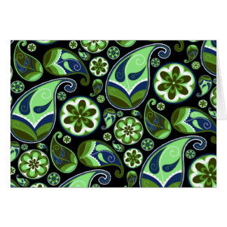 Tarjeta Paisley azul y verde en negro