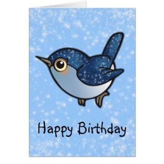 Tarjeta Pájaro azul que brilla - cumpleaños